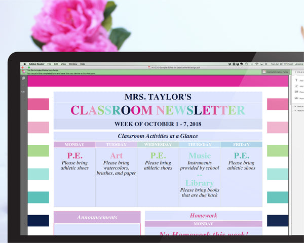 The Classroom Newsletter Printable has Editable Text fields that can be customized when the file is open with Adobe Reader