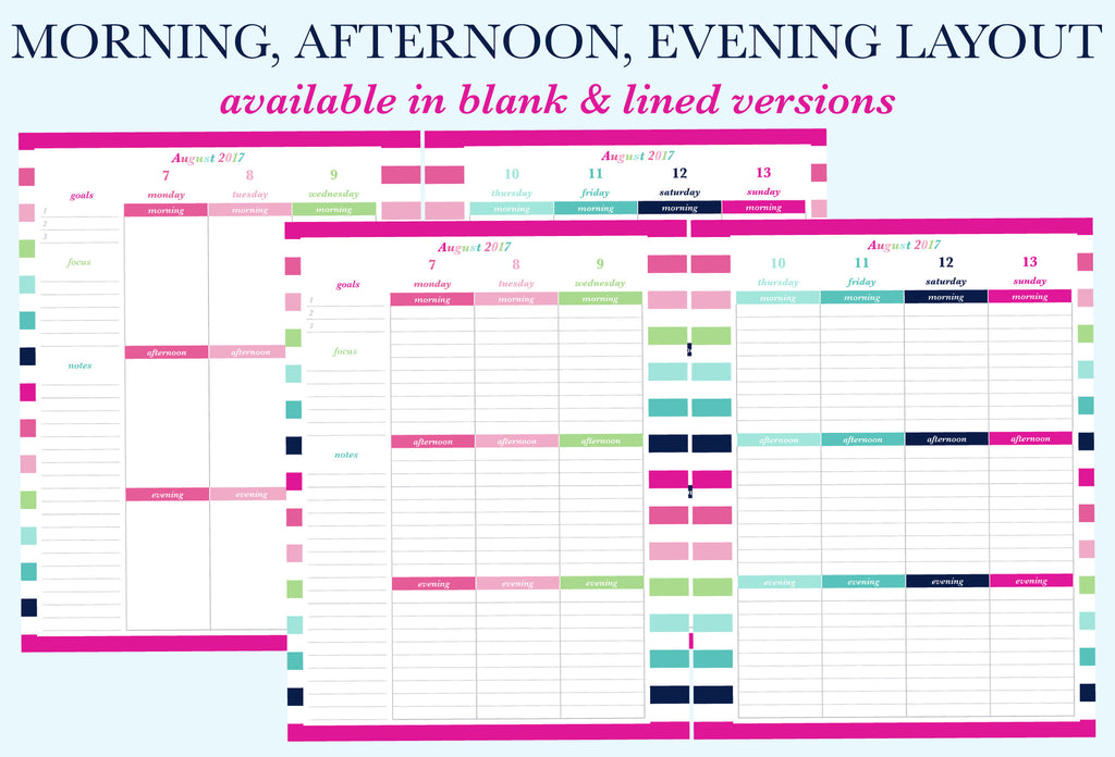 The Morning, Afternoon, Evening weekly layouts for the printable planner by Jessica Marie Design.There are 6 different weekly layout options available for you to download. Sizes available: Letter/A4 and Half Letter/A5. Downloads come with Sunday and Monday Start versions