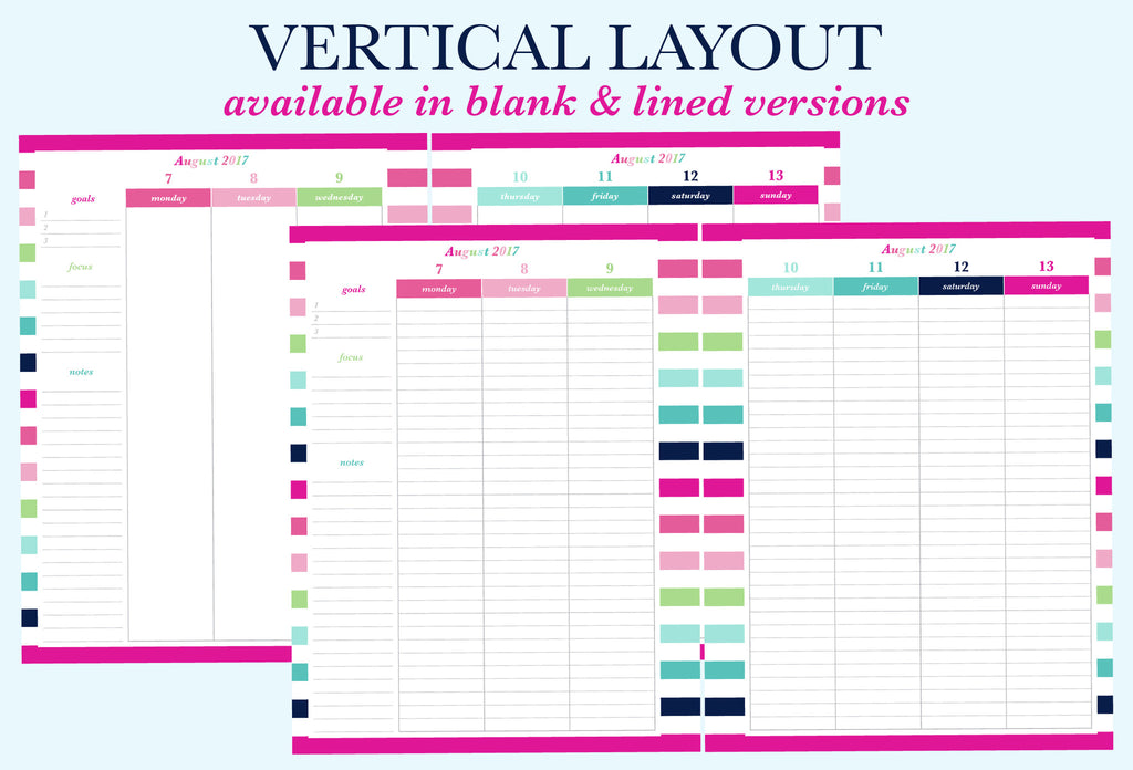 The Vertical Blank and Vertical Lined weekly layouts for the printable planner by Jessica Marie Design.There are 6 different weekly layout options available for you to download. Sizes available: Letter/A4 and Half Letter/A5. Downloads come with Sunday and Monday Start versions