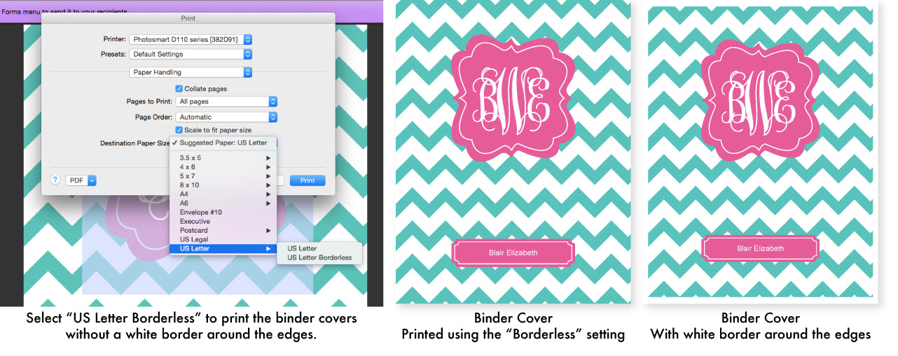 Binder Cover Printing Instructions by Jessica Marie Design