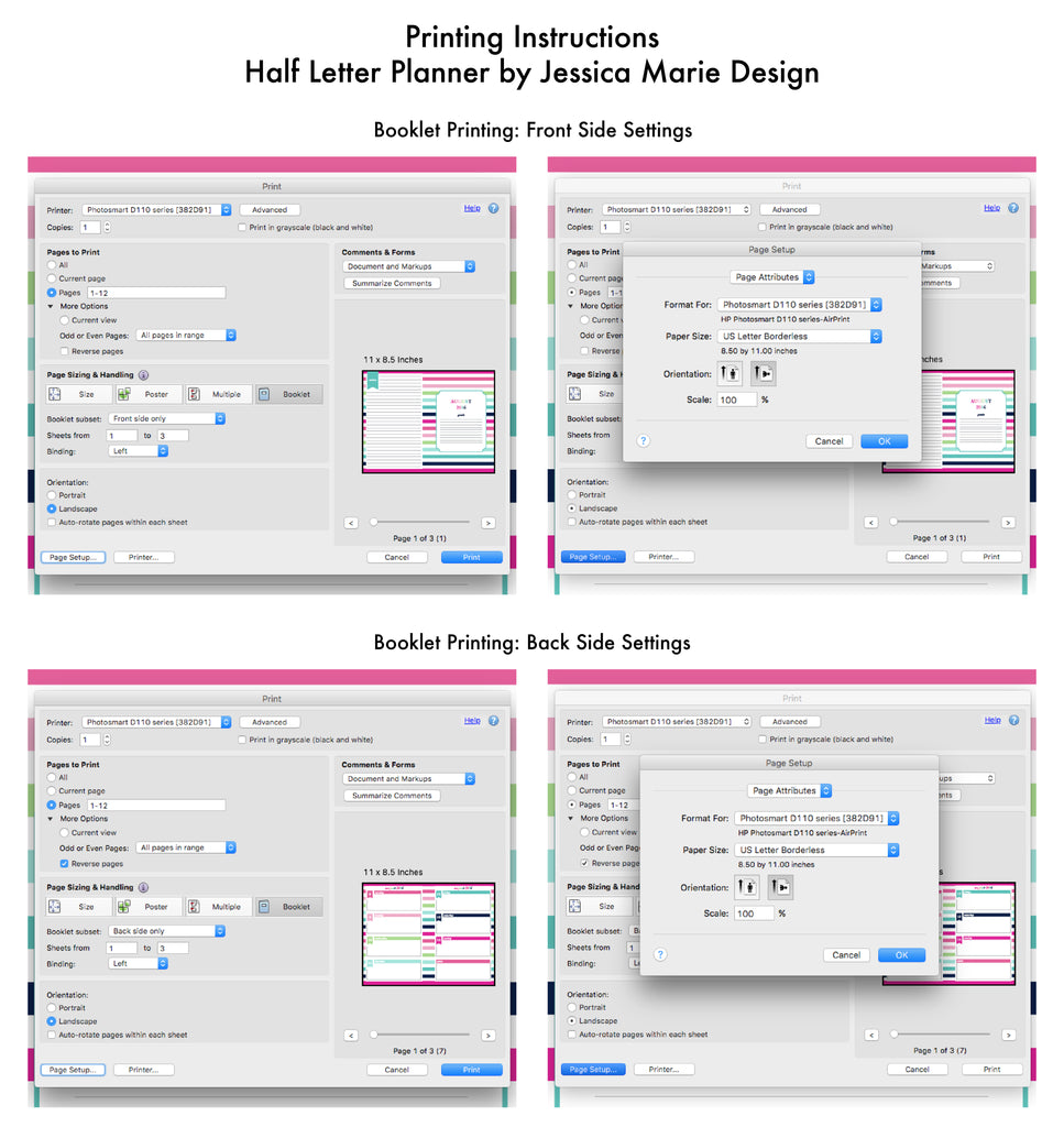 Booklet Printing Instructions for Half Letter Planner by Jessica Marie Design