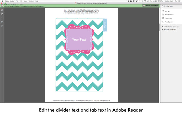 Edit divider text and tab text in Adobe Reader