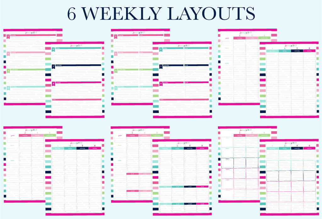 6 weekly layouts available for the 2017 printable planner by Jessica Marie Design