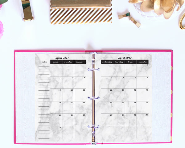 2017 Calendar Printable, Month on 2 Pages, Half Letter