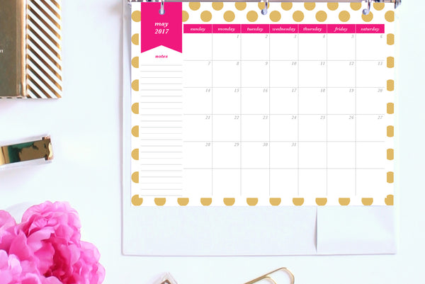 2017 Calendar Printable, Month on 1 Page, Letter
