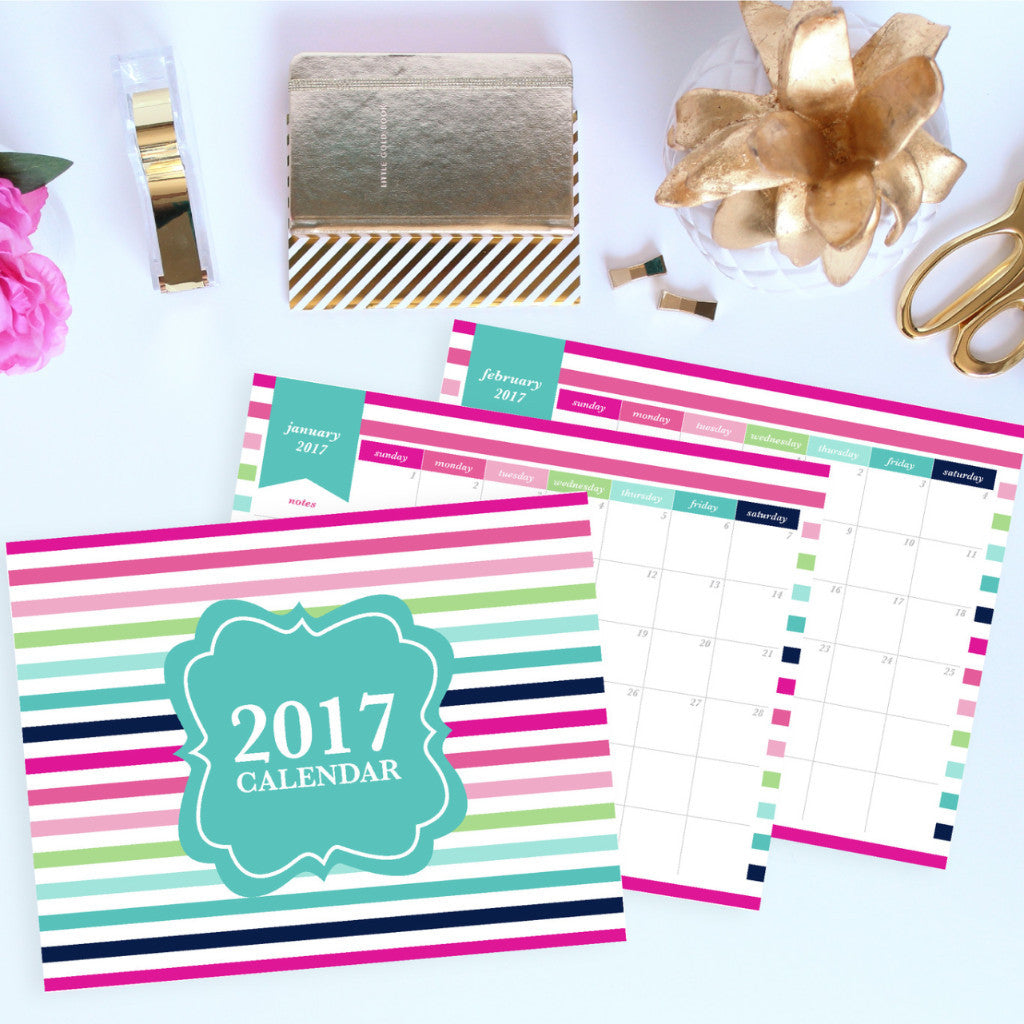 2017 calendar printable month on 1 page letter jessica marie design