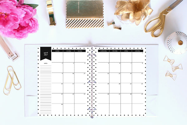 2017 Calendar Printable, Month on 2 Pages, Letter