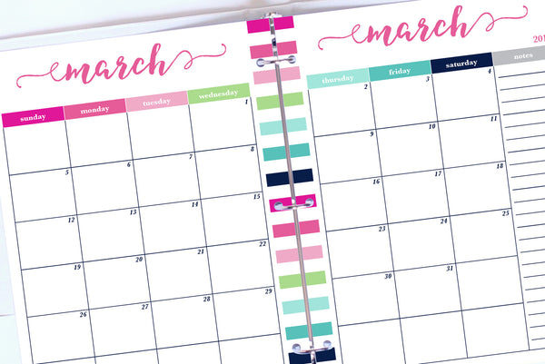 2017 Calendar Printable, Letter, Month on 2 Pages