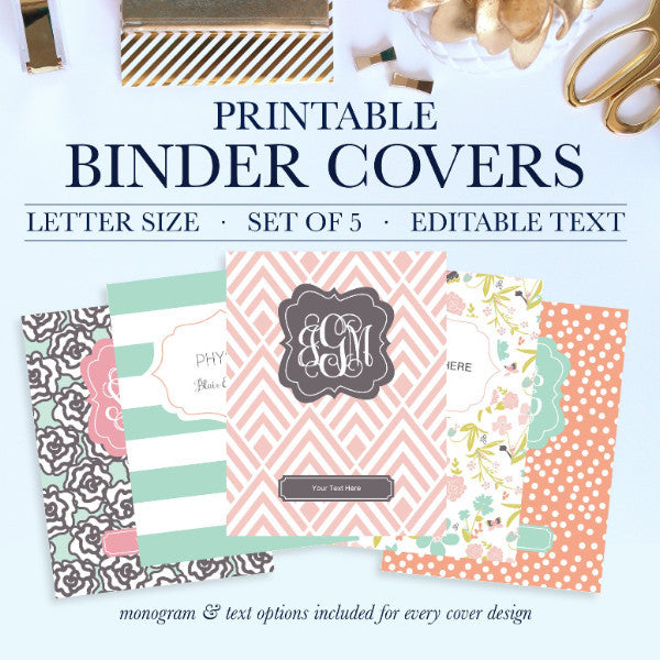 Why settle for plain binders when you can turn your school binders, office binders, and work binders into an accessory that is uniquely you! Printable Binder Covers are a perfect way to add style and personality to an otherwise boring binder. This Binder Cover Set comes with 5 Front Covers, 5 Back Covers, and Spines in five sizes: 1 inch, 1.5 inches, 2 inches, 3 inches, and 4 inches.