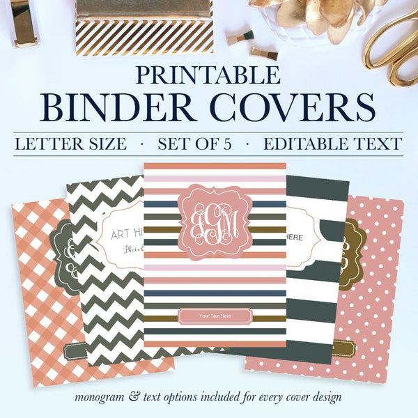 Why settle for plain binders when you can turn your school binders, office binders, and work binders into an accessory that is uniquely you! Printable Binder Covers are a perfect way to add style and personality to an otherwise boring binder.