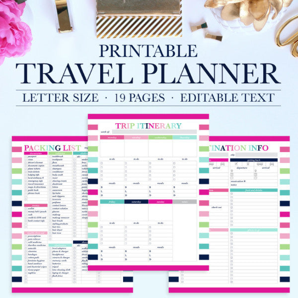 Travel Planner Printable Jessica Marie Design