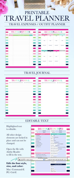 Printable Travel Planner - Vacation Planner - Trip Planner - Travel Planning Kit - Trip Itinerary - Packing List - Travel Printable