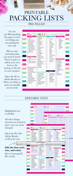 Packing Lists Printable