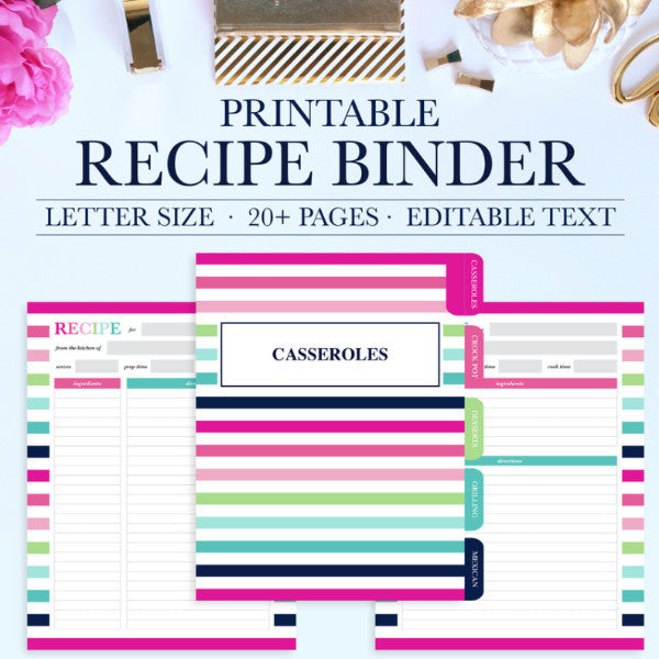 graphic relating to Printable Recipe Pages named Recipe Binder Package Printable
