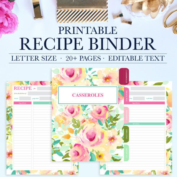 photograph relating to Printable Recipe Pages called Recipe Binder Package Printable