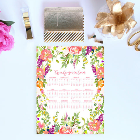 2017 at a glance Calendar in the rustic flowers design