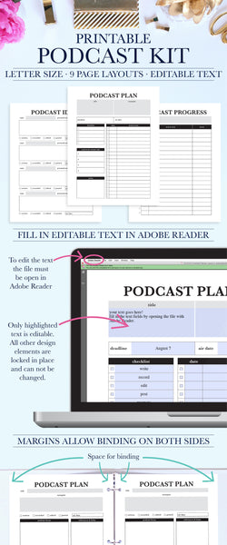 Podcast Kit, Planner Inserts, Printable Planner Kit, Digital Planner, Podcast Calendar, Planner Pages, Podcasting, Podcaster