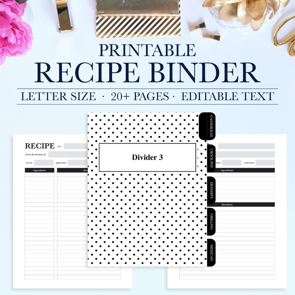 Keep All Your Favorite Recipes Organized With This Beautiful And Functional Printable Recipe Binder Kit