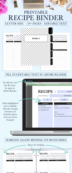 Keep all your favorite recipes organized with this beautiful and functional printable recipe binder kit. The recipe binder kit printable can be instantly downloaded and printed at home or a local print shop.
