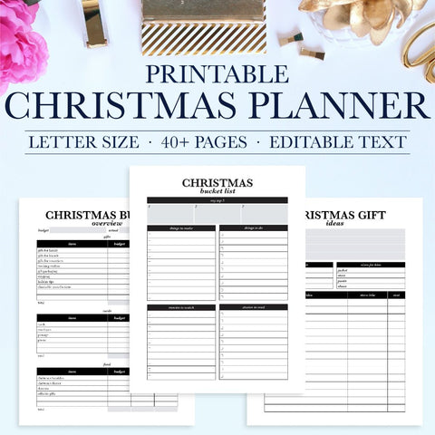 It's the most wonderful time of the year! Stay organized and enjoy the holiday season with this printable Christmas Planner. The printable planner can be instantly downloaded and printed at home or a local print shop.