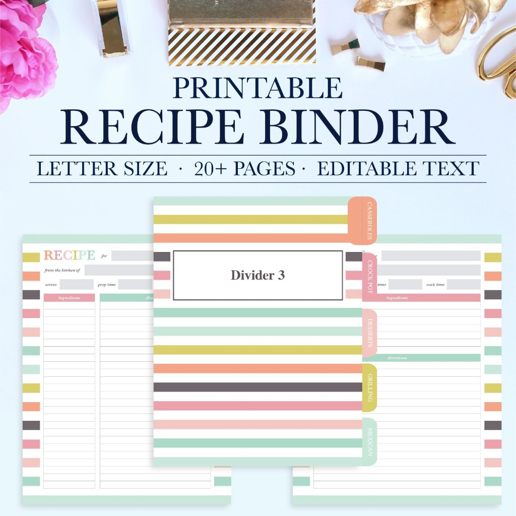 Dynamic image for free printable recipe binder kit