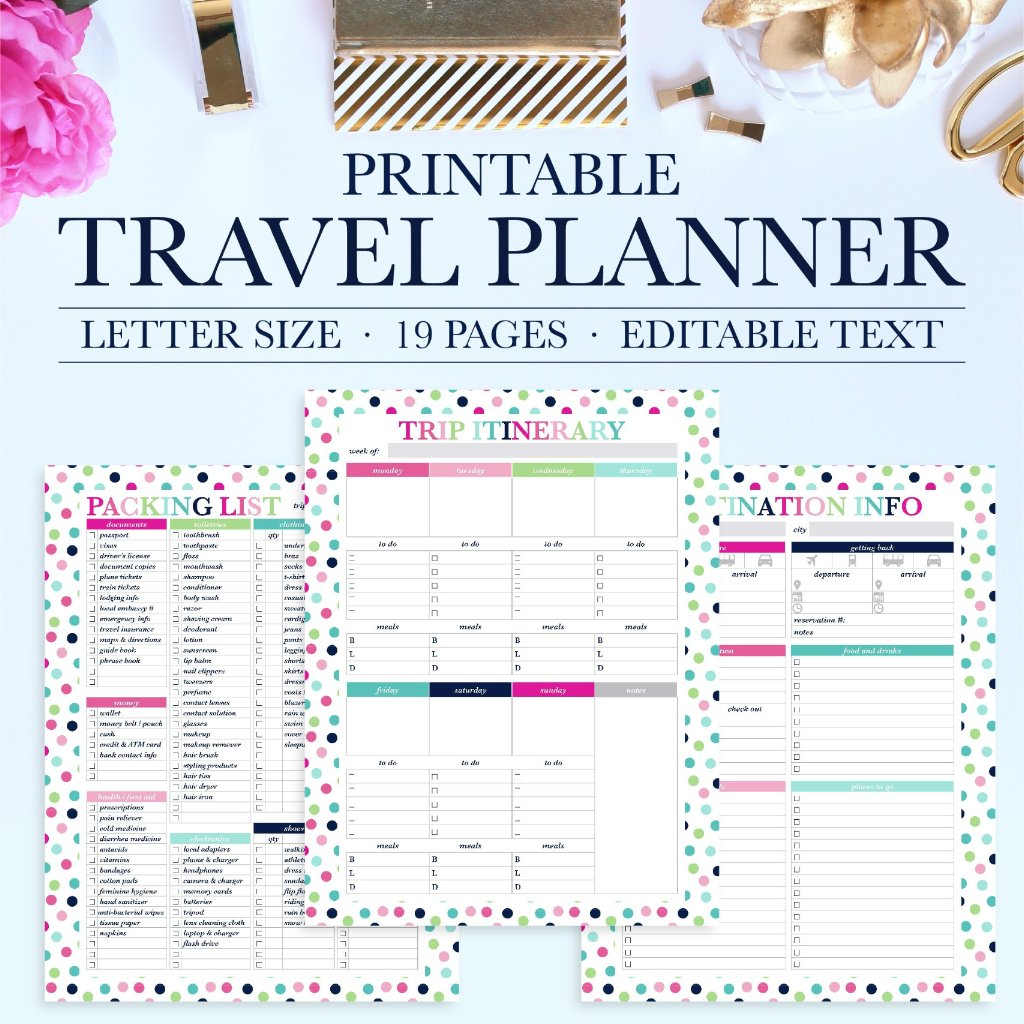 photograph about Vacation Planning Printable referred to as Push Planner Printable