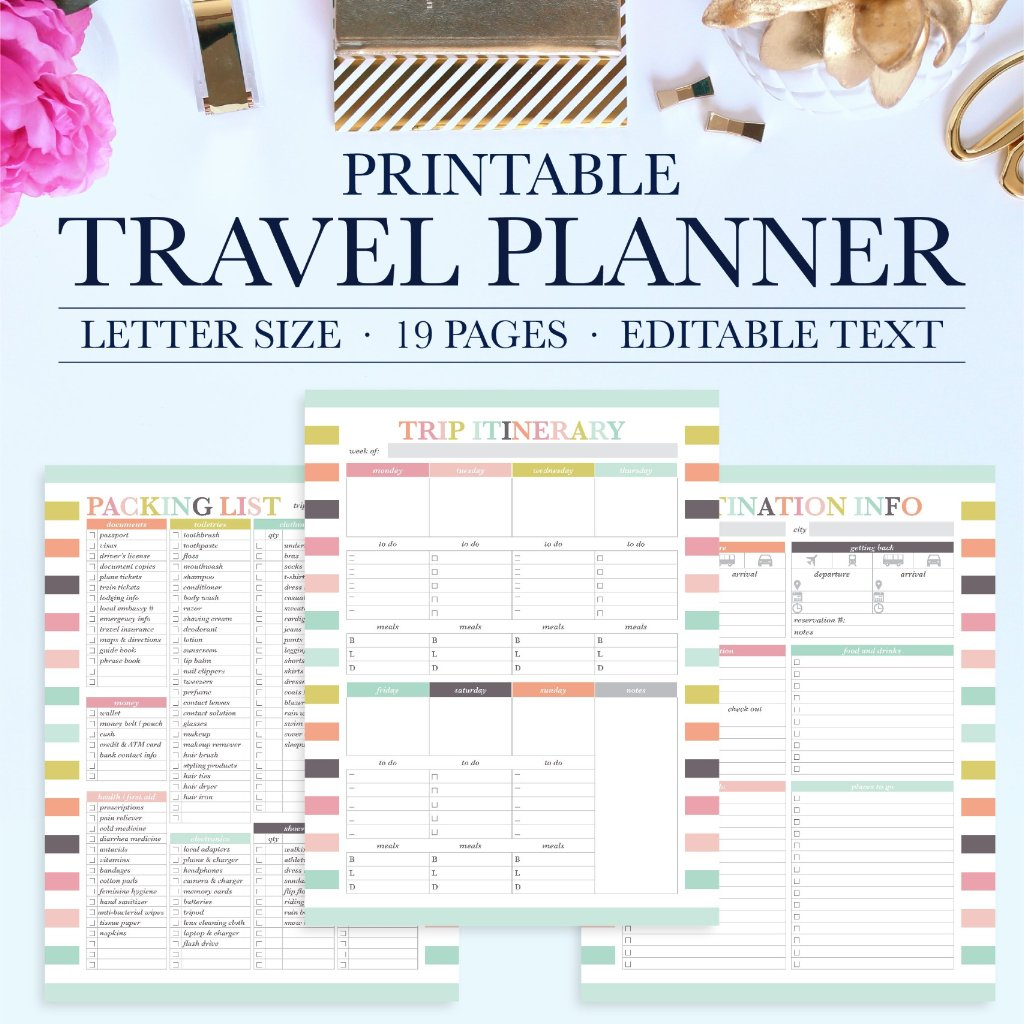 Stay organized when planning your next vacation with this beautiful and functional printable travel planner. The printable planner can be instantly downloaded and printed at home or a local print shop.