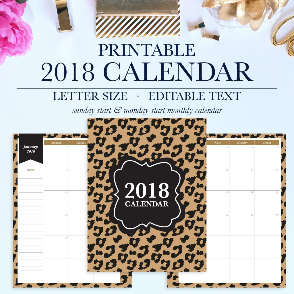 blank calendar pages 2018