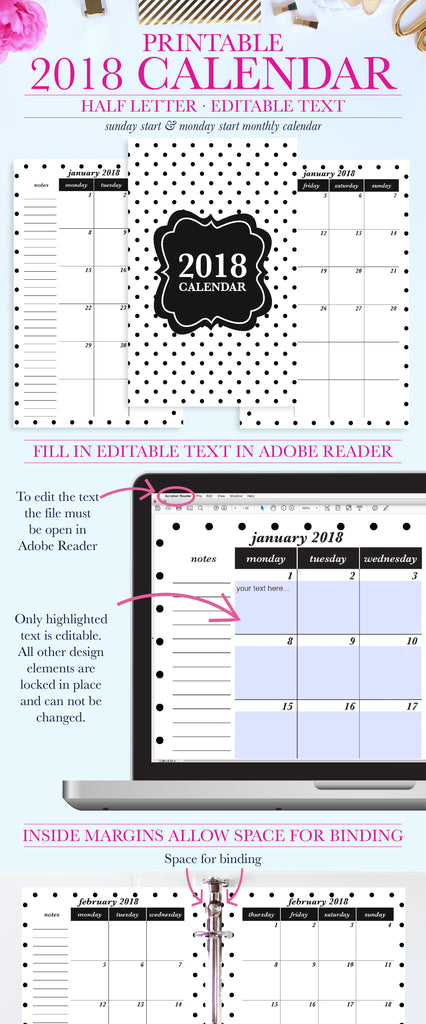 stay organized with this fun 2018 printable calendar the printable calendar can be instantly downloaded