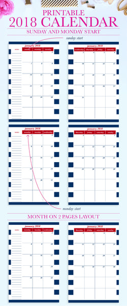 Stay organized with this fun 2018 Printable Calendar! The printable calendar can be instantly downloaded and printed at home or a local print shop. Dates are pre-filled for easy planning. Both the Monday Start and Sunday Start files are included. The PDF file has editable text fields that can be filled by opening the file in Adobe Reader. Great for typing in birthdays, holidays, and special events!