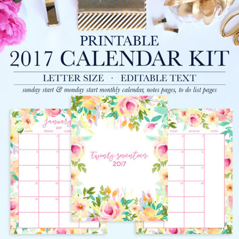 2017 Calendar Kit Printable, Includes Monthly Calendar, Notes Pages, To Do Lists