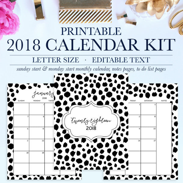 Stay organized with this beautiful 2018 Printable Calendar Kit! The printable calendar kit can be instantly downloaded and printed at home or a local print shop. Dates are pre-filled for easy planning. The printable calendar kit comes with the 2018 Monthly Calendar, 3 notes page layouts, and 3 to do list layouts.