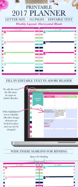 2017 Printable Planner - Horizontal Layout