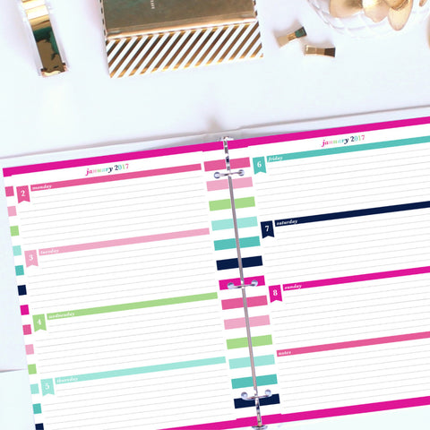 2017 Printable Planner - Horizontal Lined