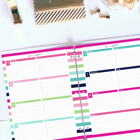 2017 Printable Planner: Letter, Horizontal To Do