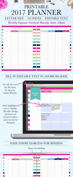 2017 Printable Planner: Letter, Vertical Hourly