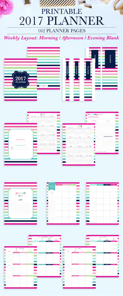 2017 Printable Planner: Letter, Morning, Afternoon, Evening - Blank