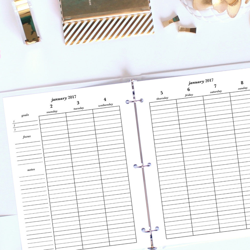 2017 Printable Planner: Letter, Vertical Lined