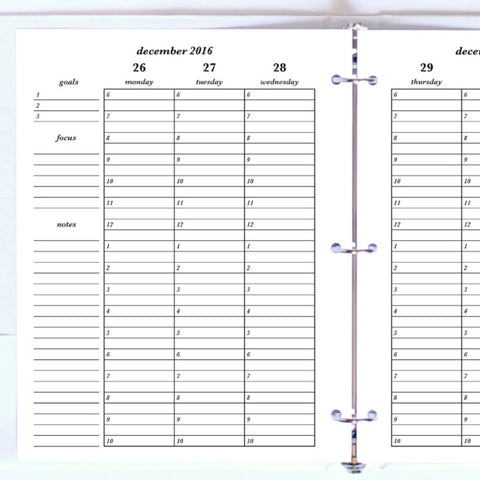 Free Planner Sample: Letter, Vertical Hourly