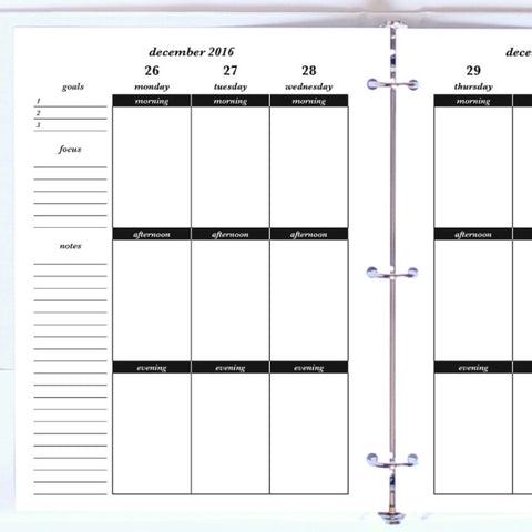 Free Planner Sample: Letter, Morning, Afternoon, Evening - Blank