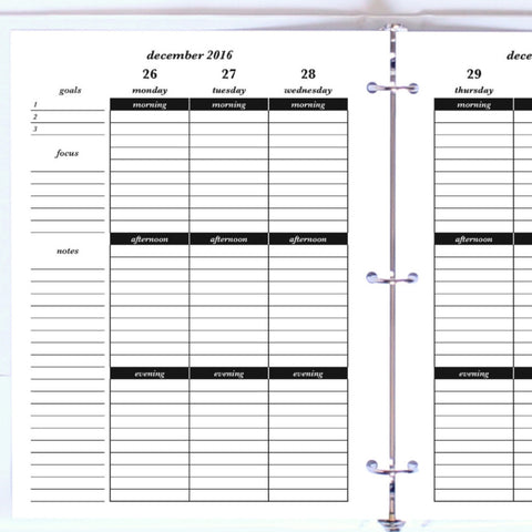 Free Planner Sample: Letter, Morning, Afternoon, Evening - Lined