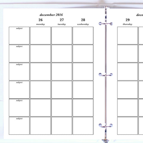 Free Planner Sample: Letter, Subjects - Blank