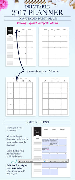 2017 Printable Planner: Letter, Subjects - Blank