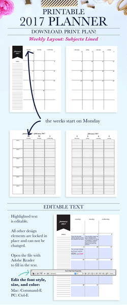 2017 Printable Planner: Letter, Subjects - Lined