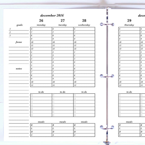 Free Planner Sample: Letter, Vertical Hourly, To Do, Meal