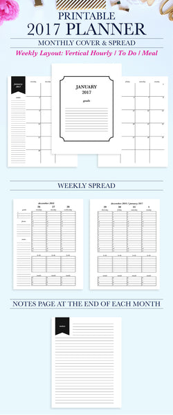 2017 Printable Planner: Letter, Hourly, To Do, Meal