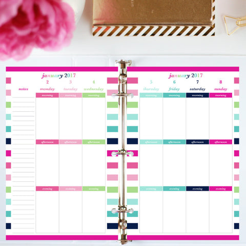 Free Planner Sample: Half Letter, Morning, Afternoon, Evening - Blank