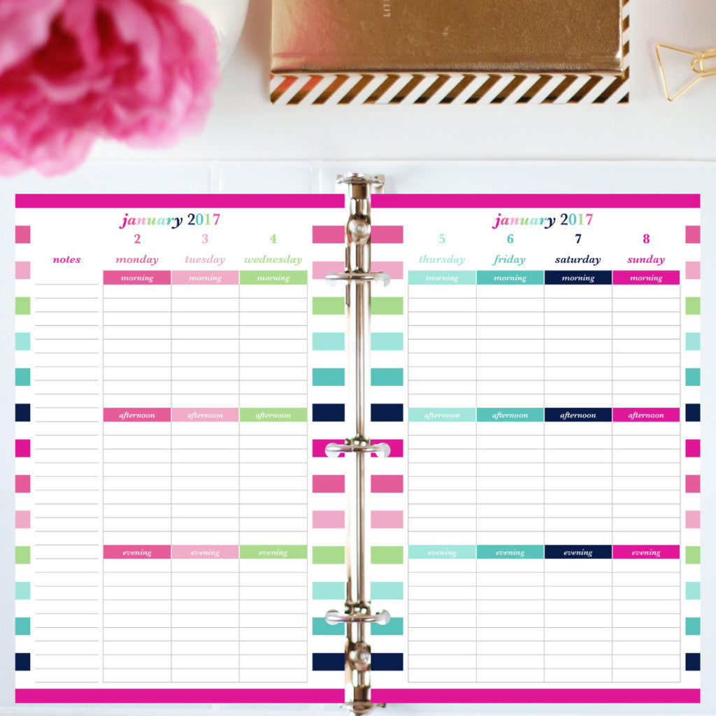 Free Planner Sample: Half Letter, Morning, Afternoon, Evening -Lined