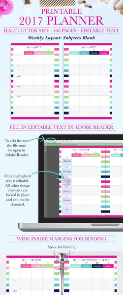 2017 Printable Planner: Half Letter, Subjects- Blank