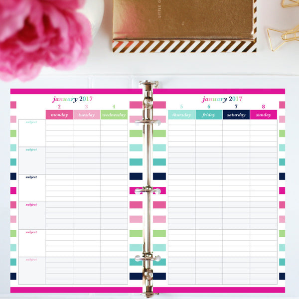 2017 Printable Planner: Half Letter, Subjects- Lined